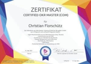 Christian Florschütz Kundenservice Experte & Interim Manager ist Certified OKR Master - OKR zertifiziert durch die agilen GmbH