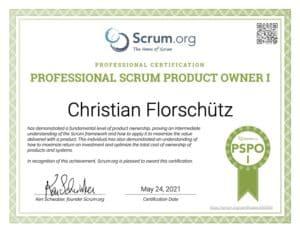 Christian Florschütz Kundenservice Experte & Interim Manager ist Professional Scrum Product Owner - PSPO zertifiziert durch scrum.org